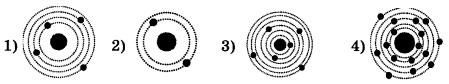 Схемы четырех атомов с электронами